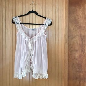 Victoria's Secret | tie front sheer lace camisole